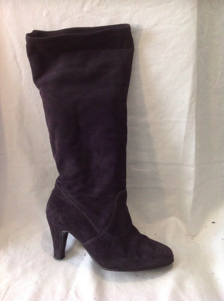 River Island Black Mid Calf Suede Boots Size 5