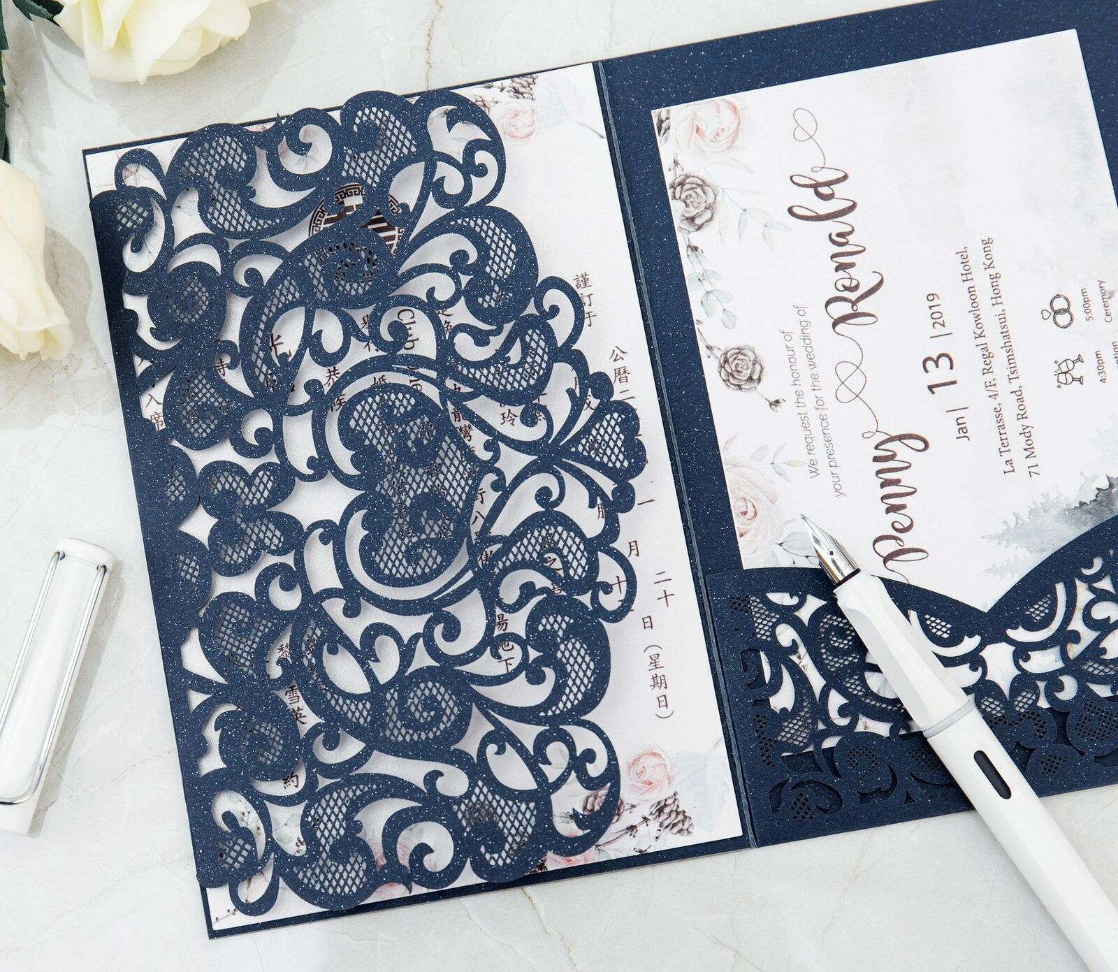 10/100PCS Tri fold Hollow Pocket Wedding Invite Invitation Card Cover  /envelope for sale online