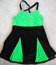 GLAMOUR COSTUMES GIRLS DANCE TAP JAZZ COSTUME BLACK VELVET GREEN CHILD XL 14 16