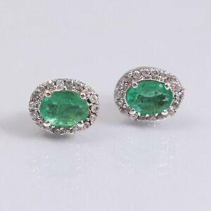 Genuine-Emerald-Studs-Minimalist-Cluster-Earrings-925-Sterling-Silver-Vintage
