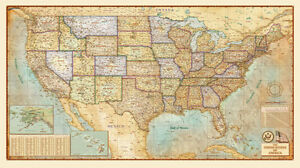 Antique Style United States USA Wall Map Sizes Laminated EBay - United states wall map laminated