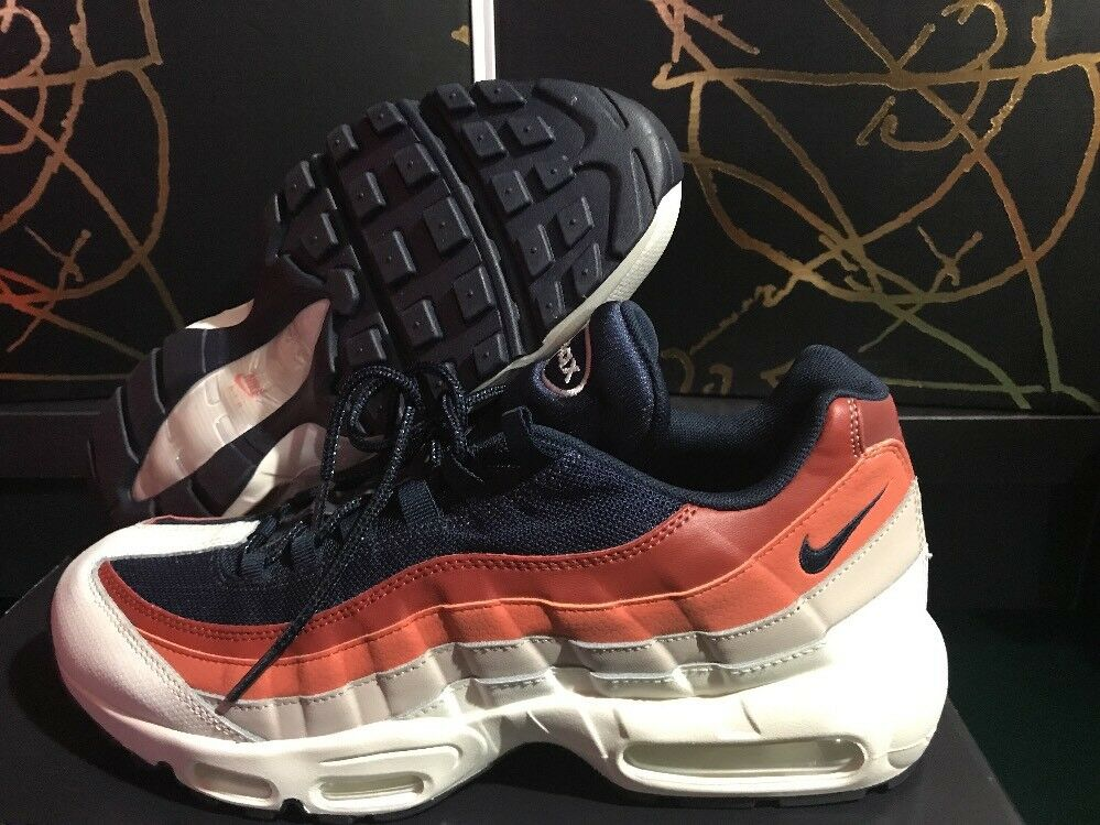 NIKE AIR MAX 95 ESSENTIAL Gray Orange Navy RED Sample SIZE 11.5 749766-108