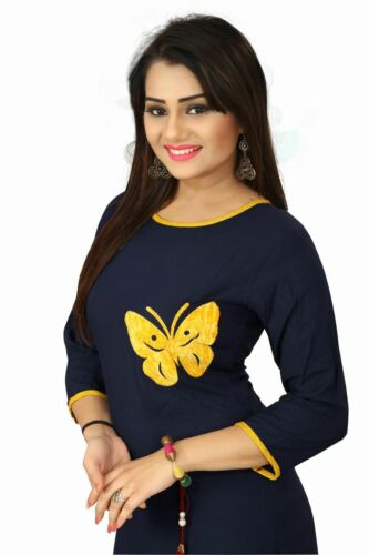 Details about  /Mzento Women Rayon Fabric Round Neck Plain Navy Blue Kurti with Yellow Outlining