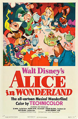 Vintage Alice In Wonderland Movie Poster A3//A2//A1 Print