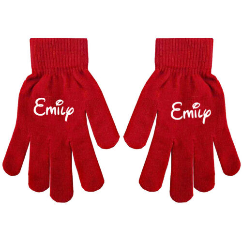 Personalised Name Kids Teenagers Adults Boys Girls Winter Gloves Hand Warmers D2