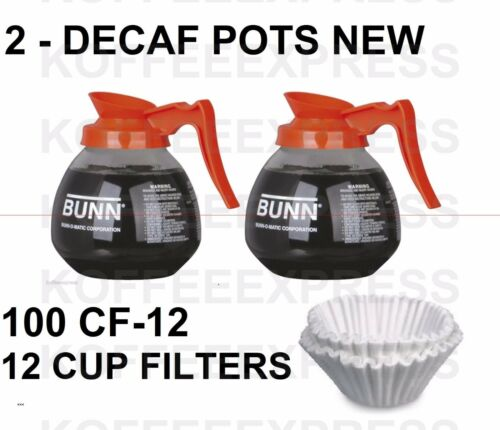 BUNN Coffee pots 2 decaf 12 cup 64oz glass 42401.0103 /& 100 FREE CF12 FILTERS
