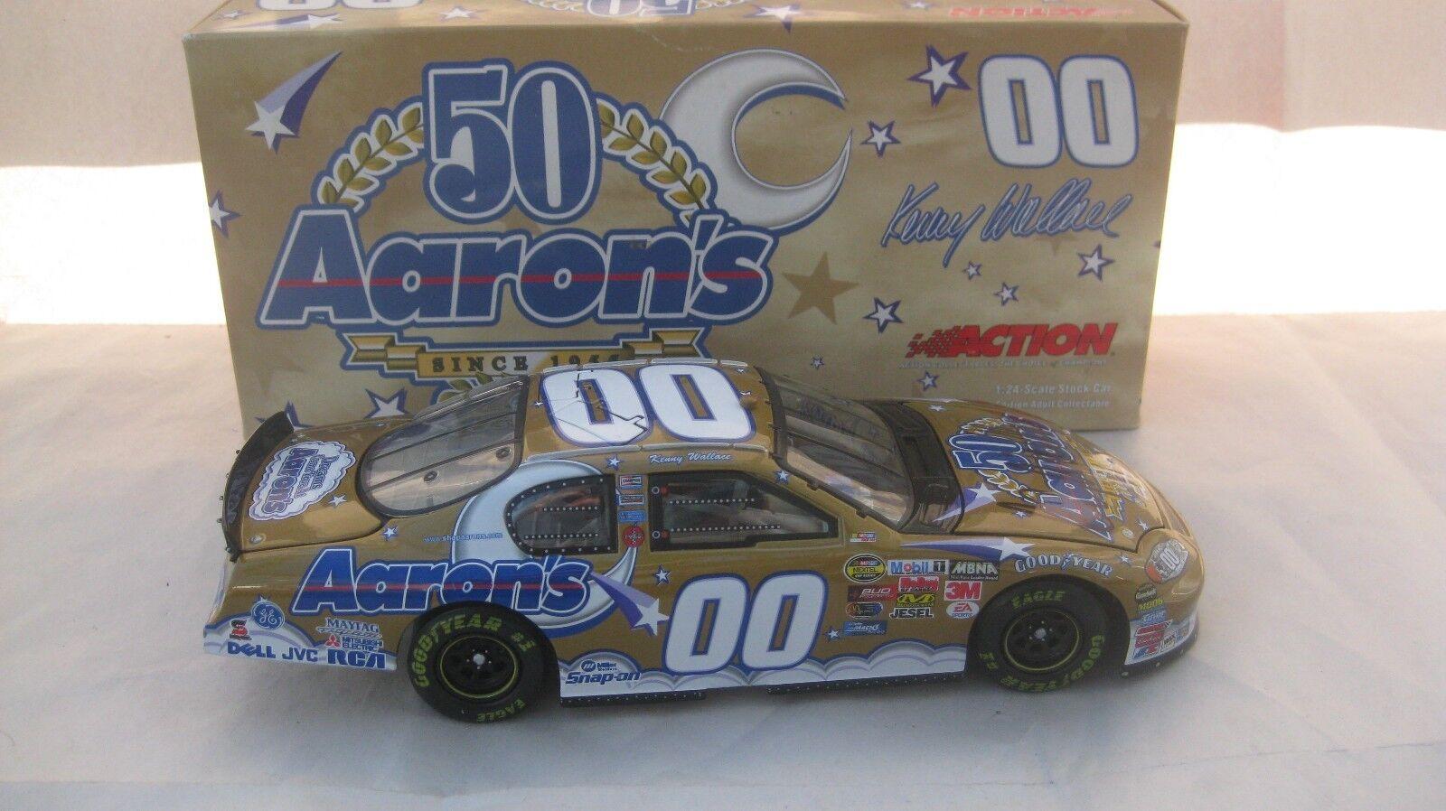 Nascar  00 Kenny Wallace Firmado Aaron's 50 50 50 Monte Carlo 1 24 Escala de Metal fc85af