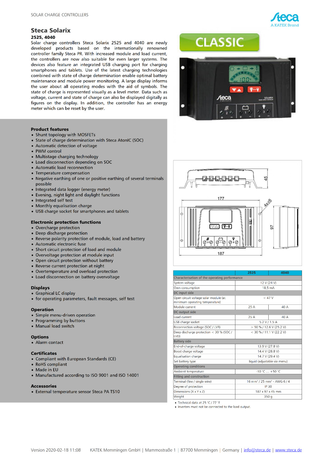 Steca 240 W 12-24 V 8 A Regolatore di carica solare