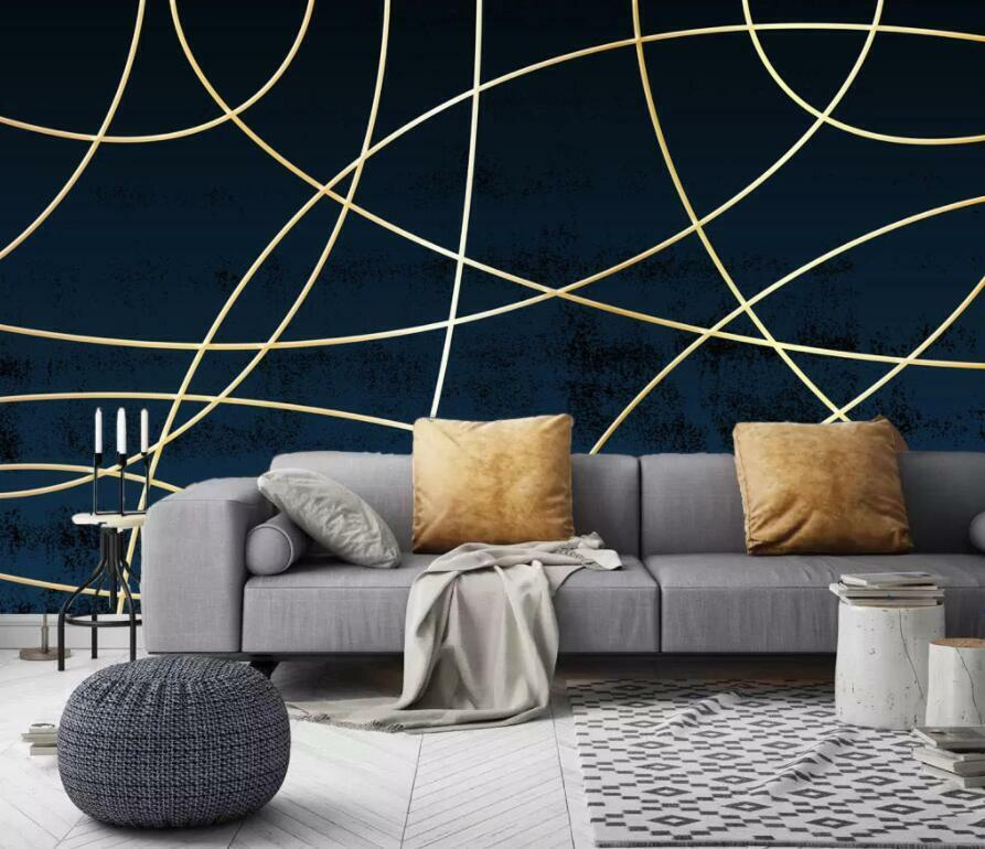 3D Gold Line Pattern I3139 Wallpaper Mural Sefl-adhesive Removable Sticker Wendy