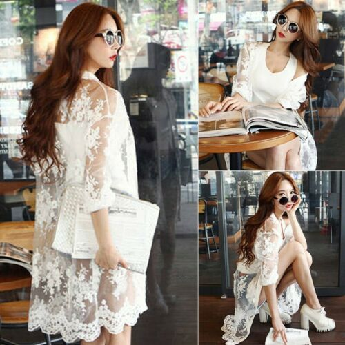 Womens Lace Floral Long Sleeve Cover Cardigan Ladies Sunscreen Beach Tops New UK