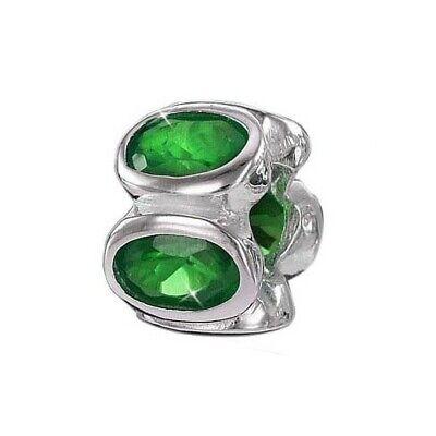 Stetig Materia 925 Silber Beads Zirkonia Anhänger Grün Rondelle Für Beads Armband