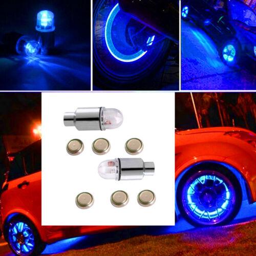 4 X Blue LED Auto Car Wheel Tyre Tire Valve Stem Cap Light Lamp Bulb Shock Sense