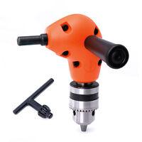 "3/8"" Grip Right Angle Drill Attachment 90 Degree Handle Chuck Key Adapter Orange"