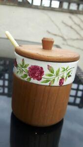 MANOR WARE JAM/HONEY PRESERVE POT & ORIGINAL SPOON WOODEN FLORAL AFTERNOON TEA