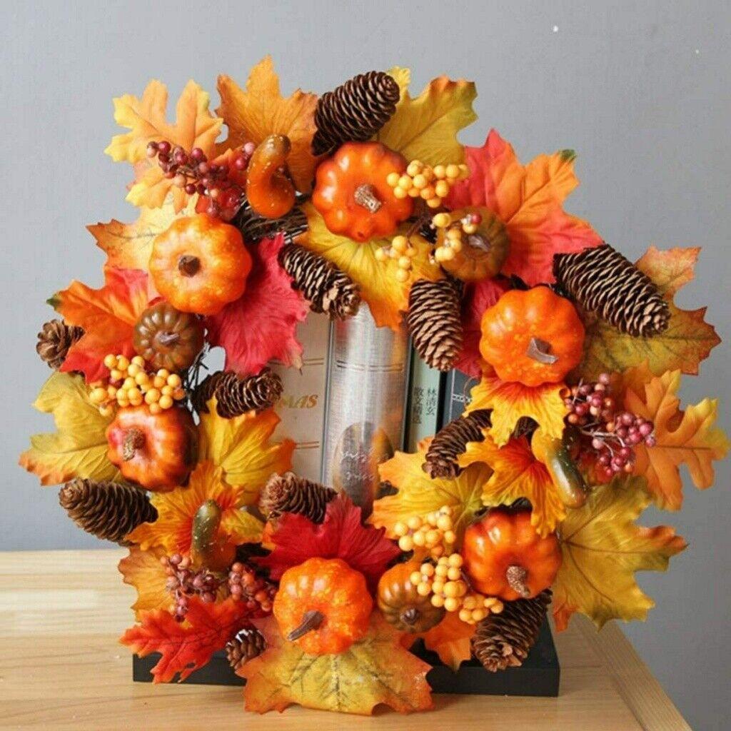30cm Halloween Decorative Pumpkin Wreath Autumn Color Maple Leaf Garlands Home For Sale Online Ebay