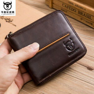 BULLCAPTAIN Men Genuine Leather Zipper Around Card Slots Coin Wallet Purse Brown