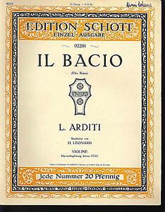 L-Arditi-034-Il-Bacio-Der-Kuss-034-alte-Noten-Violinen-und-Klavierausgabe