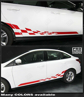 Choose Color FORD FUSION 2013-2019 Checkered Rocker Panel Side Stripes Decals