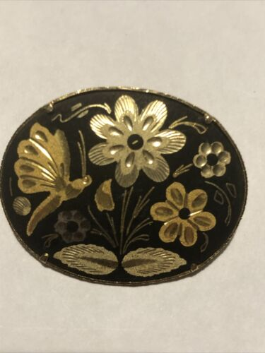 Small Oval Birds Floral Brooch Black Gothic Brooch Trombone Pin Victoriana Damascene Brooch Vintage Spanish Gold Tone Inlaid Lapel Pin