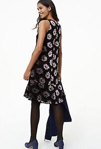 4968f6284b7c6 NWT Ann Taylor LOFT Black and Gray Iced Floral Velvet Swing Dress S ...