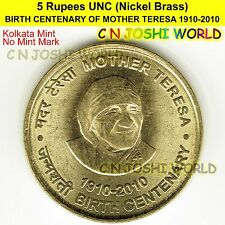BIRTH CENTENARY OF MOTHER TERESA 1910-2010 Nickel-Brass 5 Rupees (K) UNC 1 Coin
