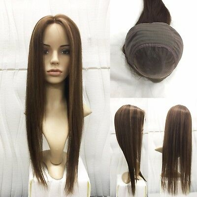 """Mono Top Lace 100% Human Hair Wig 22"""" Long Straight Brown mix Blonde Quality"""