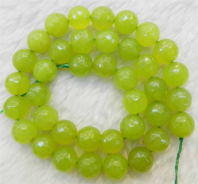 """10mm Faceted Peridot Round Loose Beads Gemstone 15""""AAA++"""
