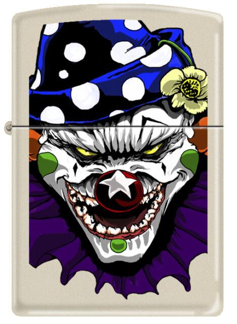 Zippo Evil Clown White Cream Matte Windproof Lighter RARE 24468 New