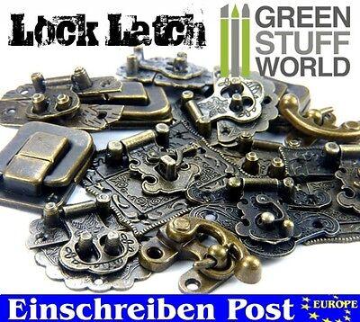 6x Box Schlösser - ANTIKE BRONZEFARBEN - Verschlüsse Schrankriegel, Schubriegel