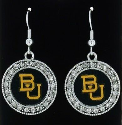 Free Ship!Officially Licensed Baylor Bears Crystal Studded Round Dangle Earrings
