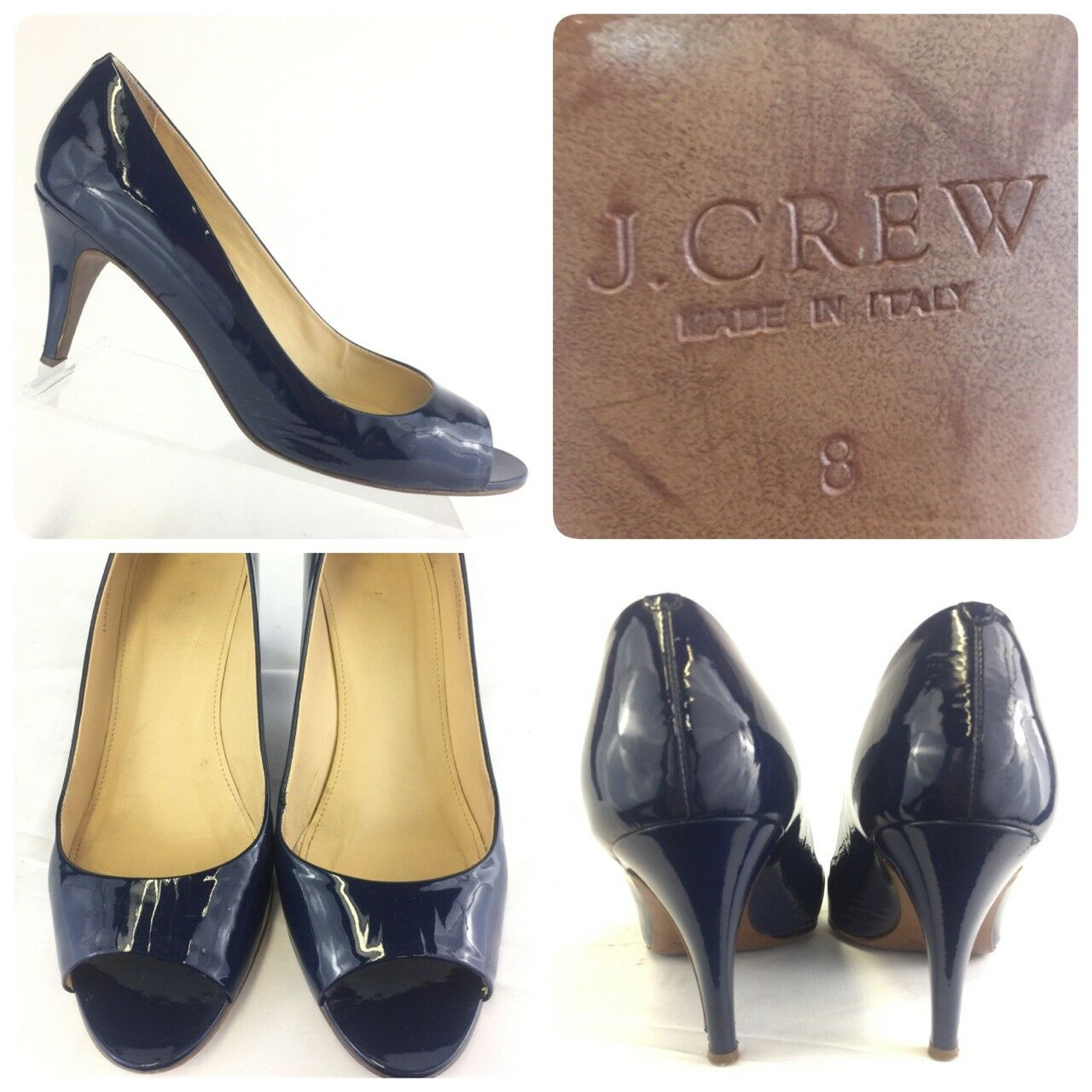 J.Crew Women's 8 Drea Patent Lather Peep Toe Heels Pumps shoes bluee 64452
