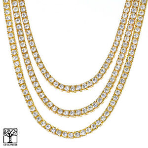 Men S Cz Stoned Triple Gold Plated Tennis Chain Necklace Set 18 20 22 Ebay
