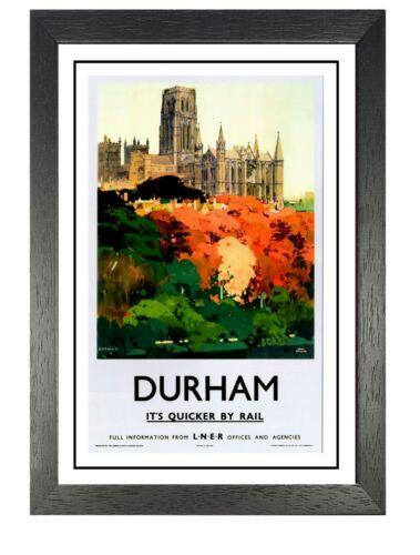 Durham 2 Cathedra Photo Railway Old Advert Poster River Wear Beauty View Holiday