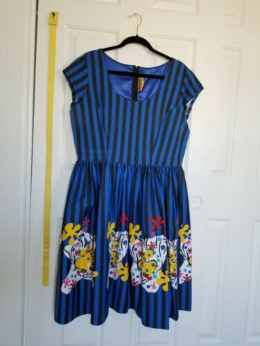 Pinup Couture Blue Stripe Mary Blair Clowns Dress,
