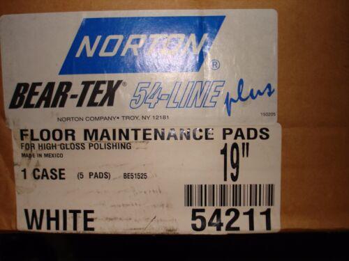"""FOR HIGH GLOSS POLISHING 19/"""" WHITE POLISH FLOOR PADS BOX OF 5 NORTON 54211"""