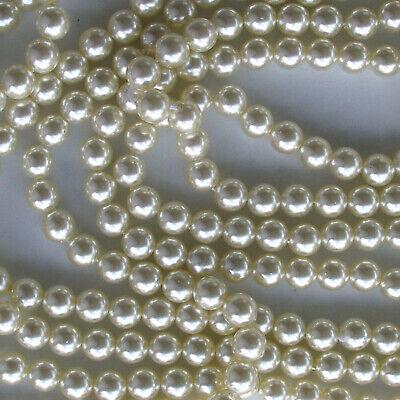 """Japanese Ivory Finish Acrylic Pearl Style Beads 3mm 60/"""" Strand"""