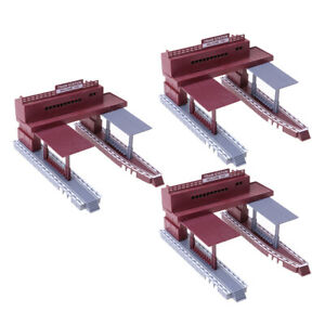 3x Train Scenery Structure Station Platform Model HO Scale Railroad Layout