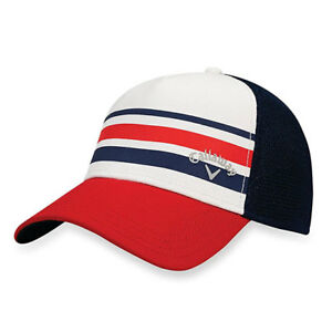 a9032bafe65 CALLAWAY GOLF STRIPE MESH CAP   HAT FITTED SIZE  L XL WHITE NAVY RED ...