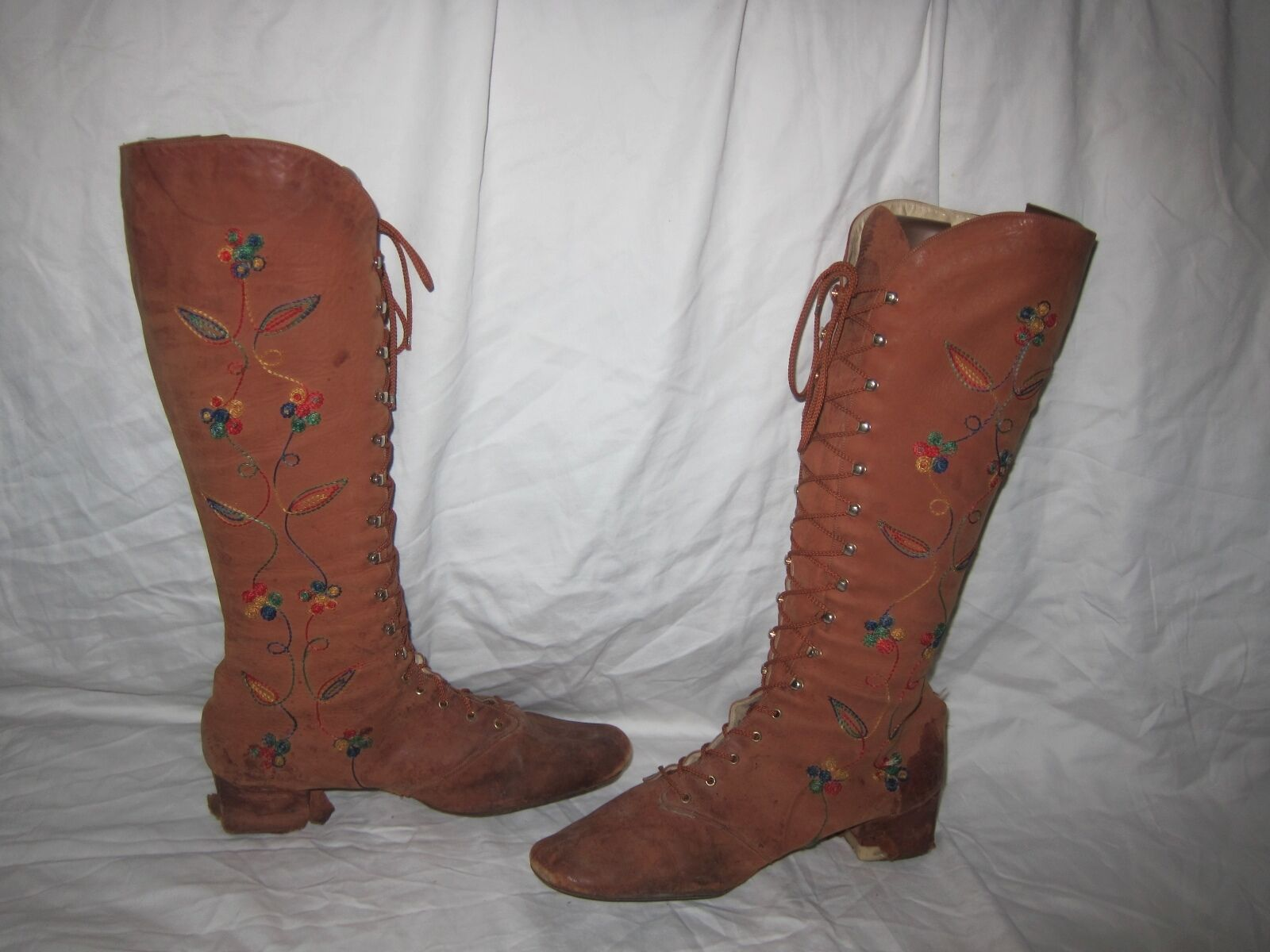 RARE Jack EMBROIDERY Rogers knee high Braun Leder Stiefel WITH EMBROIDERY Jack Floral Damenschuhe 8.5 3fc397