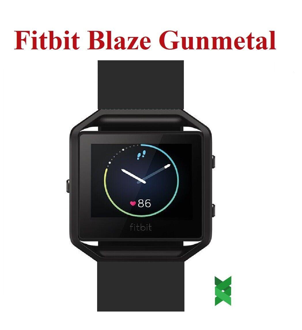Fitbit Blaze SmartWatch Fitness Tracker Heart Rate Gunmetal Black Leather Small
