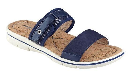 Easy Spirit Nautical slide sandals adjustable lightweight navy bluee 6 Med NEW