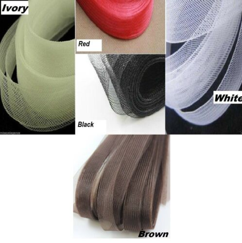 Marfil Negro Blanco Marrón Flexible crinolina boda. Caballo de 16 Mm-trenza de cabello guarnecido