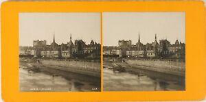 FRANCE-Saumur-Les-Quais-ca-1900-Photo-Stereo-Vintage-Argentique-PL61L12