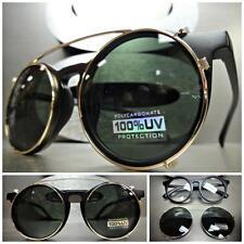 CLASSIC VINTAGE 60s RETRO Style Clear Lens CLIP ON SUN GLASSES Matte Black Frame