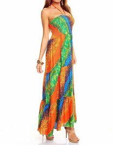 maxikleid kleid bunt neckkleid bandeau 36 38 orange gr n blau sommerkleid lang ebay. Black Bedroom Furniture Sets. Home Design Ideas