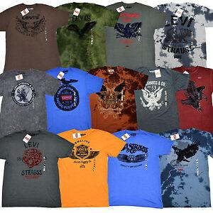 Levis-Mens-Graphic-T-Shirts-Flocked-Crew-Neck-Tees-Levi-039-s-Short-Sleeve-V556p