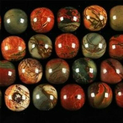 8mm Round Multicolor Picasso Jasper Gemstone Loose Bead 15''AAA