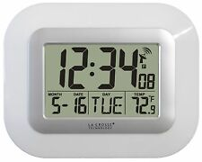 WT-8005U-W La Crosse Technology Atomic Digital Wall Clock IN Temperature & Date