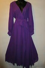 Dress 2X Plus Purple Maxi and Mini Lined Skirt Chiffon Flowing Sash Tie Belt NWT