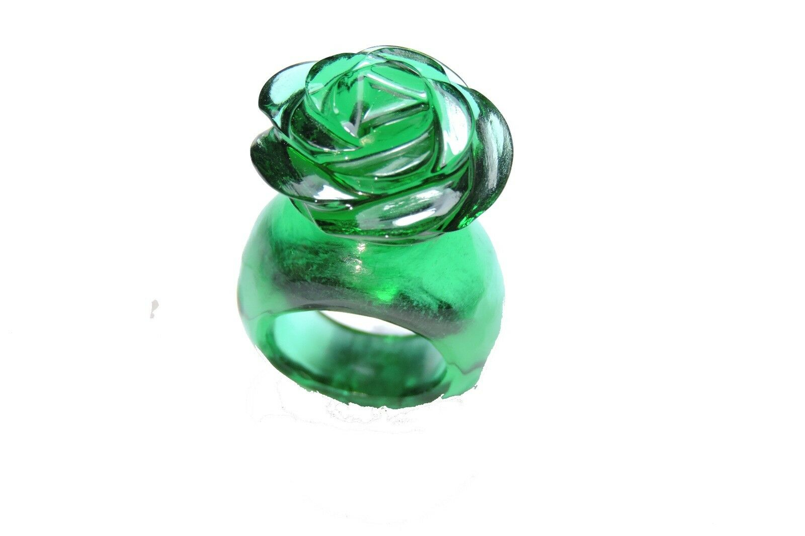 Extremely Beautiful Emerald Green Quartz Hand Carved pink Flower Shaped Ring